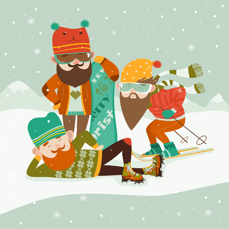 stylish boy: Hipsters with ski and snowboard.