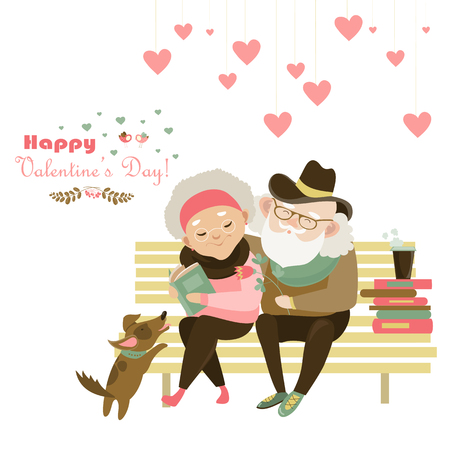 happyness: Old couple in love sitting on bench.