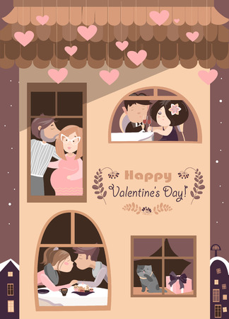 love kiss: House full of couples in love.