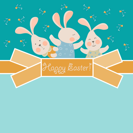 bunny: Cute little  bunnies celebrating Easter. Vector greeting card