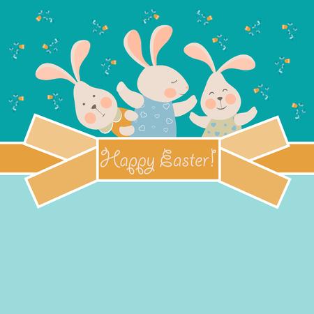 simpáticos conejitos celebra la Pascua. tarjeta de felicitación del vector