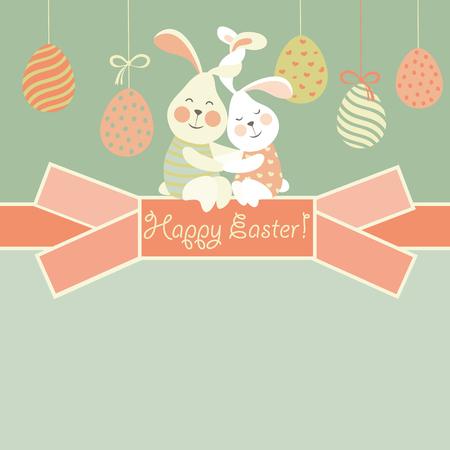 bird cartoon: Easter bunnies and Easter egg.
