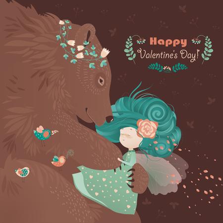 beautiful girl: Bear hugging cute girl. romantic card Illustration