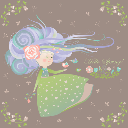 young leaf: Cute girl with streaming hair. Vector greeting card Illustration
