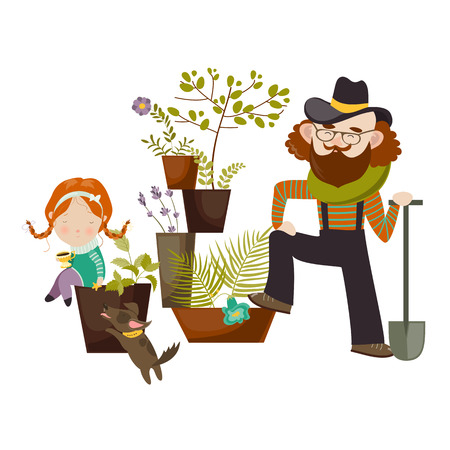 family gardening: Father and daughter planting in the garden together. illustration