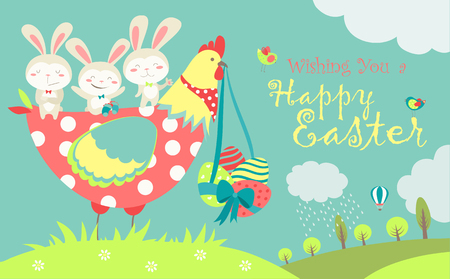 Easter bunnies,chicken and easter eggs. illustration Illustration
