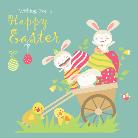 cute animals: Easter bunnies and easter eggs. illustration