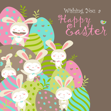 cartoon easter: Easter bunnies and easter eggs. illustration