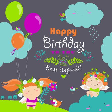 angel birthday: birthday card with cute little angels Illustration