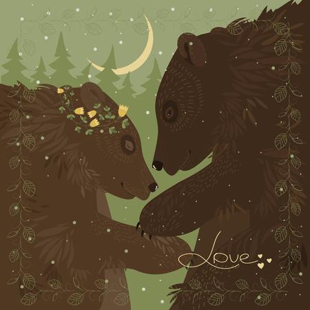 tenderness: Couple of hugging bears. romantic greeting card