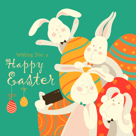 easter eggs: Easter bunnies take a selfie. illustration