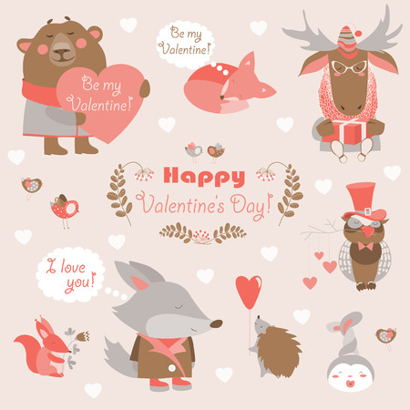 cute cartoon animals: Vector set of fun animals with hearts and flowers