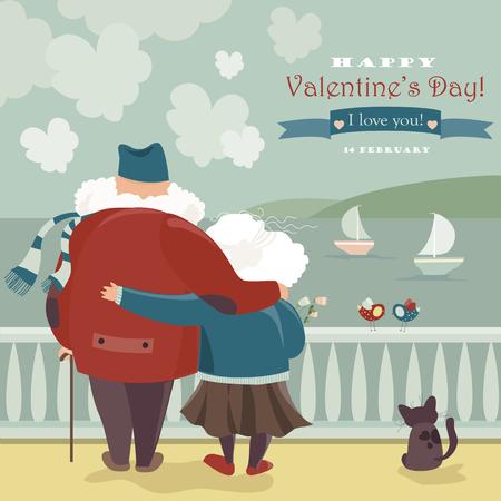 vejez feliz: Feliz pareja de ancianos mirando el mar. Tarjeta romántica del vector Vectores