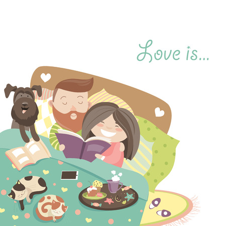 woman lying in bed: Happy couple in bed with cats and dog. Vector illustration