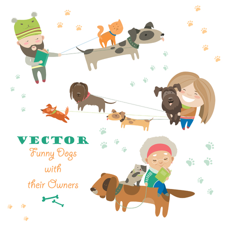 short haired: Cute dogs with their owners. Vector flat illustration