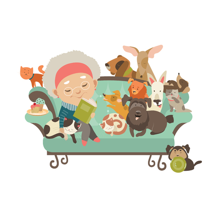 funny people: Old woman with her cats and dogs. Vector illustration