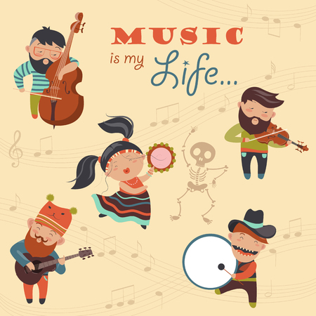 Set of vector illustrations with musicians and dancer