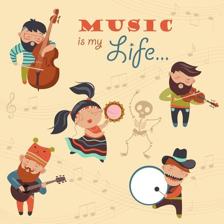 Set van vector illustraties met musici en danser