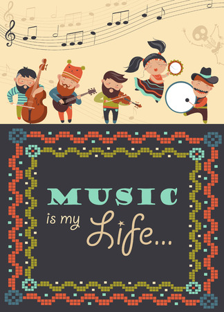 Vector greeting card with musicians and dancer Vectores