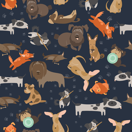 mongrel: Funny Mixed Breed dogs with tracks seamless pattern