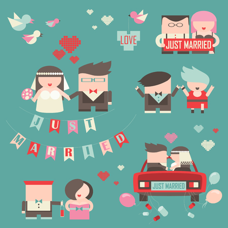 love icons: Collection of just married couples. romantic set Illustration