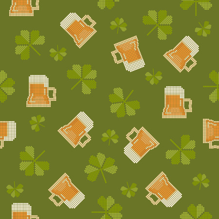 irish culture: Big pixels styled St. Partick day with beer and shamrock seamless pattern