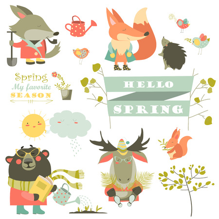Cartoon characters and spring elements. collection
