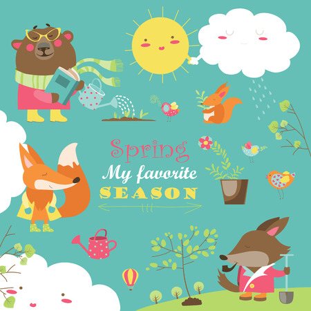 spring: Cartoon characters and spring elements. collection