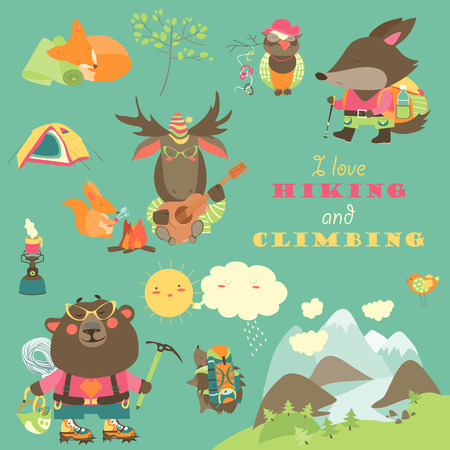 crampons: Cartoon characters and mountaineering elements. collection