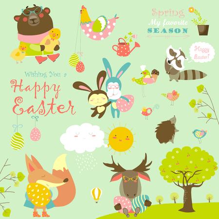 animales del bosque: Animales celebra la Pascua. conjunto de personajes de dibujos animados