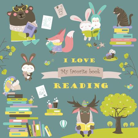 tarea escolar: Conjunto de animales de dibujos animados la lectura de libros. Vectores