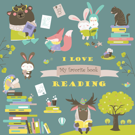 pleasure of reading: Set of cartoon animals reading books.