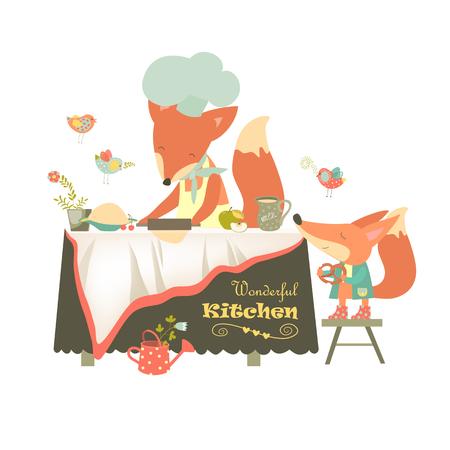 homemaker: Fox baking a cake.
