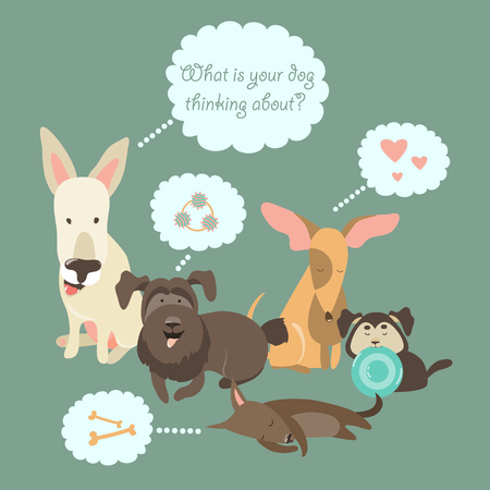 animal tracks: Funny Mixed Breed dogs with Speech Bubble.