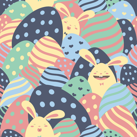 osterei: Easter bunnies and easter eggs seamless pattern