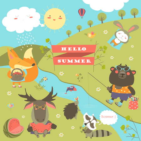 Cartoon characters and summer elements.