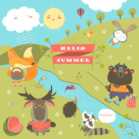 Stripfiguren en zomer elementen.