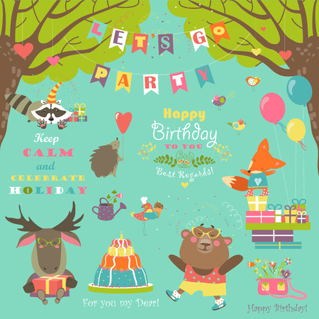 Set of birthday party elements with cute animals