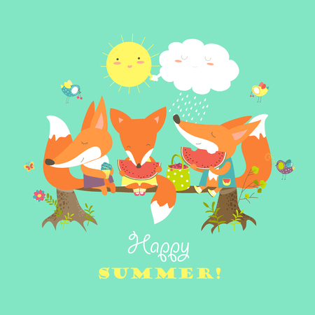 cartooning: Cute foxes eating watermelon on a log. illustration