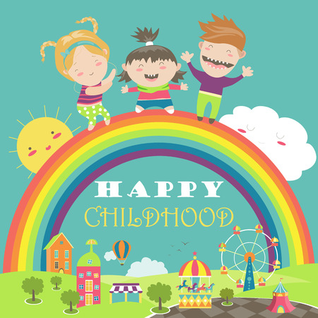 kids playing: Happy children with rainbow and carousel. illustration