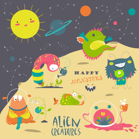 abduct: set of cute cartoon alien and space