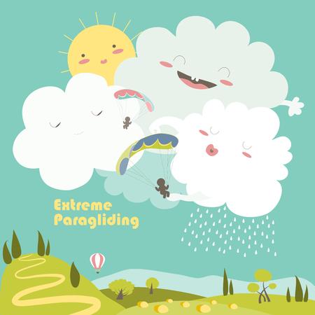 parapente: Dos parapentes en el cielo con nubes lindo