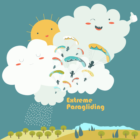 Paragliders on sky with cute clouds