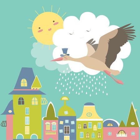 Stork ist über der Stadt in den Himmel fliegen. Illustration