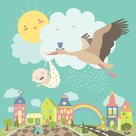 Stork is flying in the sky with baby above the city. illustration