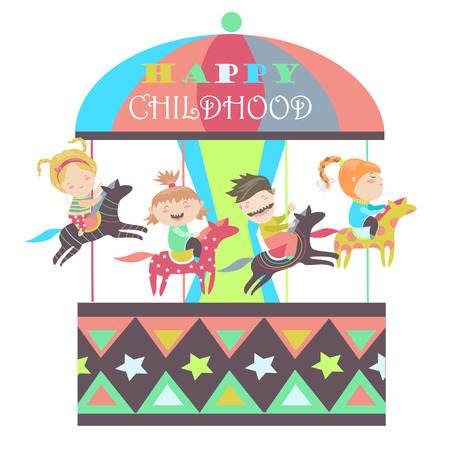 merry go round: Happy kids riding merry go round. isolated illustration Illustration
