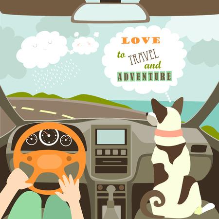 소유자는 자신의 강아지와 함께 자동차 여행. 삽화 일러스트