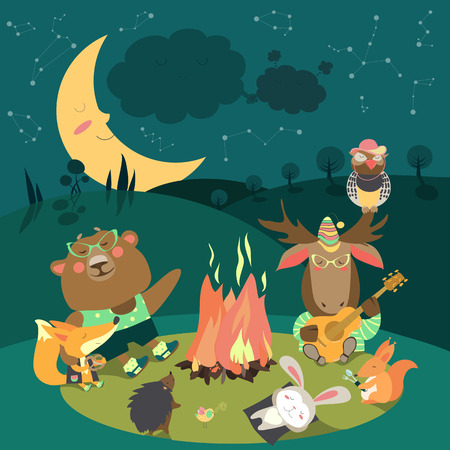 Cute animals resting around bonfire.