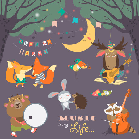 Set of illustrations with animals musicians and dancers