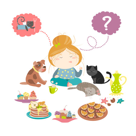 choosing: Cute girl choosing sweet. isolated illustration